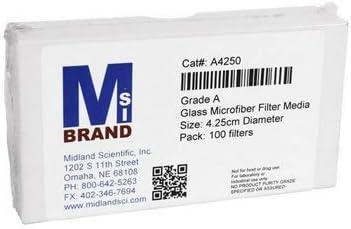 Midland científica MSI A4250 PK IW Tremont papel de filtro, Graded un, 4 cm de altura, 3 cm ancho, 4,75