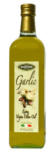 Mantova Garlic Flavored Extra Virgin Olive Oil, 34-Ounce Bottle - Imported from Italy - Authentic Italian EVOO - Perfect for Salads, Dressings, and Marinades