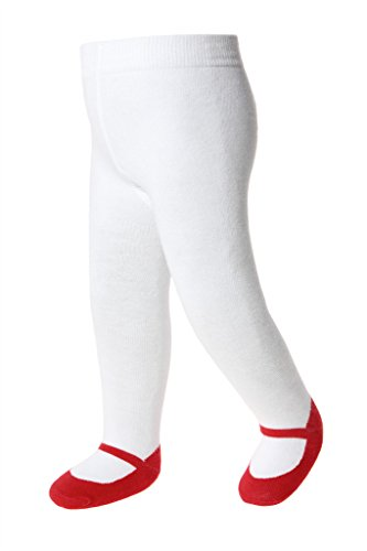 Baby Emporio-Baby & Toddler Girl Tights-Shoe Look-Anti Slip-Cotton-Gift Bag (6-12 Months, Red (Robin Outfit For Babies)