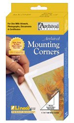 Lineco. Archival Polypropylene Mounting Corners. Self Adhesive, Pressure Sensitive, Non-Yellowing, Acid-Free. 1.25 Inches (3,175 Centimeter). Mounting Artwork, Photographs, Certificates, Scrapbooking, DIY, Displaying Pictures. (Pack of 250). Clear. from Lineco