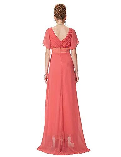 18 Pastèque Robes Double Taille Ailin Manches De En Soirée V À couleur Courtes Encolure Home Rouge qwT6ZqcC7r