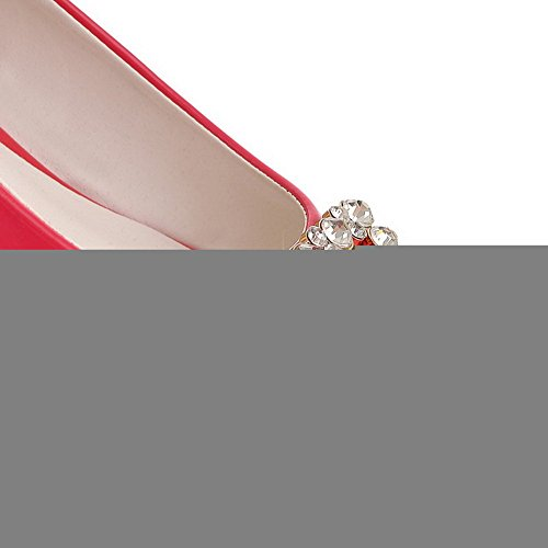 VogueZone009 Womans Closed Round Toe Low Heel Patent Leather Solid Pumps with Rhinestone Peach fWchsMaw3