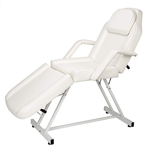 NURXIOVO Commercial Massage Table Facial Bed Chair with Adjustable Portable Removable Headrest Facial Cradle Towel Holder for Spa Salon Tattoo White