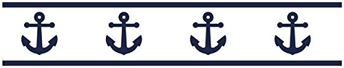 Sweet Jojo Designs Anchors Away Nautical Navy Blue and White Childrens and Kids Modern Wall Paper Border by Sweet Jojo Designs