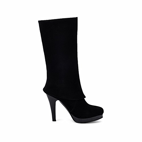 Mid Toe Heels Women's High Boots Closed Solid top Frosted Round Black AgooLar 4nXp01q