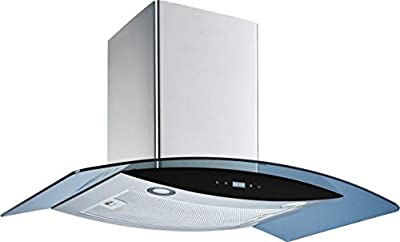 """Winflo 30"""" Wall Mount Stainless Steel/Arched Tempered Glass Convertible Kitchen Range Hood with Touch Control, Aluminum Filter and LED Lights"""