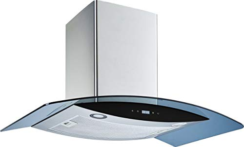 Winflo 30 Wall Mount Stainless Steel/Arched Tempered Glass Convertible Kitchen Range Hood with Touch Control, Aluminum Filter and LED Lights