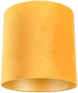 QAZQA Algodón Pantalla terciopelo ocre 40/40/40 interior dorado, Redonda/ Cilíndrica Pantalla lámpara colgante,Pantalla lámpara de pie: Amazon.es: Iluminación
