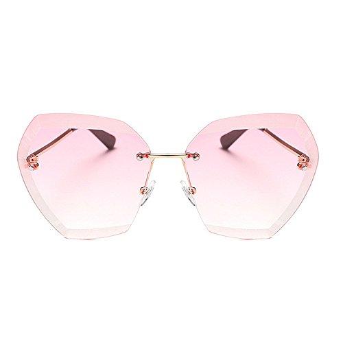 personnalit lunettes pour les lunettes Nouveaux femmes UV Rose à de lunettes mode soleil de conduite pour Sans la soleil Grandes soleil soleil de monture protection stores la irrégulières surdimensionné de wUqIf