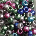 Christmas Multicolor Mix Plastic Craft Pony Beads, 6x9mm, 500 Beads Bead Bee