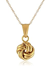 14k Yellow Gold Double Wrap Loveknot Pendant Necklace, 18""