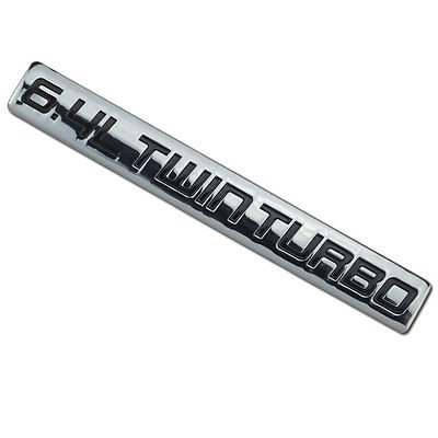 Chrome/Black Metal 6.4L Twin Turbo Engine Motor Badge For Trunk Hood Door for Ford F-350 Super Duty