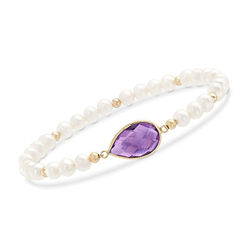 Ross-Simons 5.00 Carat Amethyst and 4-5mm Cultured Pearl Stretch Bracelet With 14kt Yellow Gold -