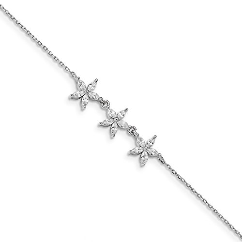 (Sterling Silver CZ Cubic Zirconia Flower with 2 inch ext Bracelet 7