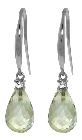 14k White Gold Diamond Fish Hook Earrings with Green Amethysts ()