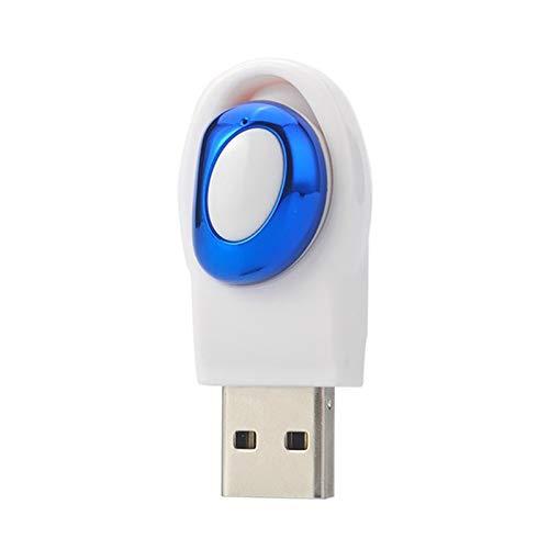 RONSHIN Portable Mini Wireless Bluetooth Earphone Music Handsfree Headphone Headset in-Ear USB Earpiece Invisible for Phone (White Blue)