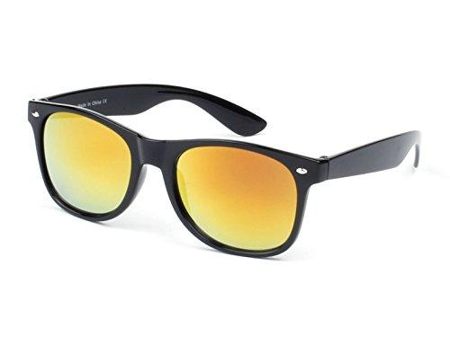 Furlux Men's Women's Classic Wayfarer 55mm Sunglasses UV400 Protection (Black Frame/Orange - Ray Sun Ben Glass