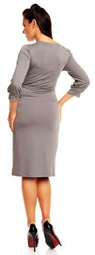 Happy Mama. Maternity Vestido premamá cuello en V cruzado mangas 3/4. 251p Gris Claro