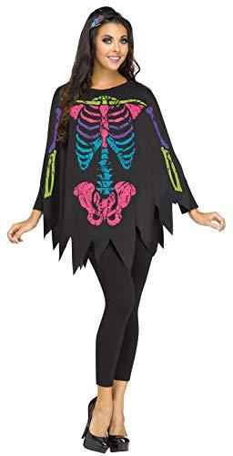 3 Person Halloween Costumes Easy (Fun World Women's Skeleton Poncho, Multi,)
