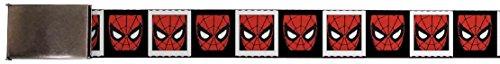 """Blank Chrome 1.5"""" BO Buckle - Spider-Man Face Black/White Blocks Webbing"""
