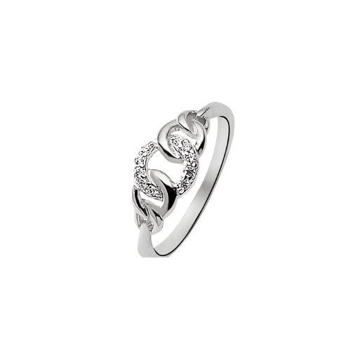 Bijoux pour tous - 700491111080 - Bague Femme - Argent 925/1000 Rhodié 2.03 gr - Oxyde Blanc