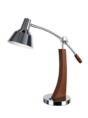 Aspen Creative 40037, Modern Metal Desk Lamp, Chrome Finish with Wood Accents and Metal Lamp Shade, 25 1/2