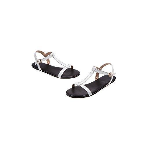 hebilla la Mujer planas sandalias simple OCHENTA Blanco hija de y nX7fWxWdIq