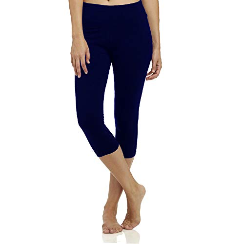High Waisted Soft Capri Leggings for Women-Tummy Control and Elastic Opaque Slim-One/Plus Size 20+Design Navy