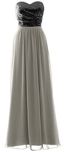 Formal Elegant Long Gown Sequin Black Strapless Party Dress Chiffon Bridesmaid Silver MACloth 8OdFad