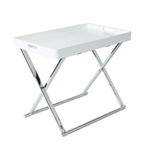 urb SPACE 82008008 Accent Table Folding Tray White/Silver