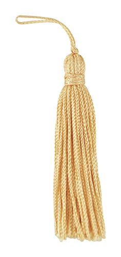 Set of 10 Lt. Gold Chainette Tassel, 3 Inch Long with 1 Inch Loop, Basic Trim Collection Style# RT03 Color:Light Gold - ()