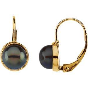 14K jaune 7-7.5mm Noir Perle de culture d'eau douce Boucles d'oreilles à levier