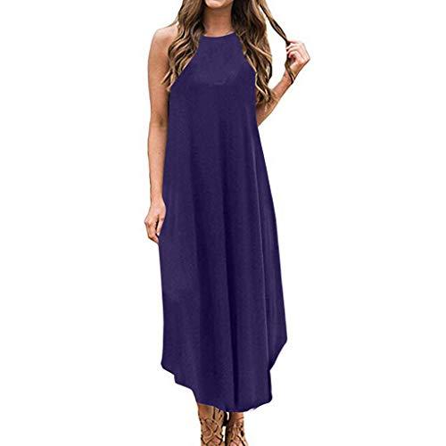 Sunhusing Ladies Summer Stylish Casual Solid Color Round Neck Sleeveless Sleeve Boho Long Midi Dress Purple