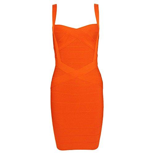 HLBandage Women's Spaghetti Strap Solid Mini Rayon Bandage Dress (M, Orange) (A Girl Kiss A Girl Without Dress)