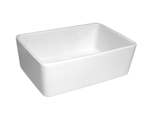 Whitehaus WHB5033 WHB5033Basichaus single Bowl Smooth Apron Fireclay Sink with 3 ½