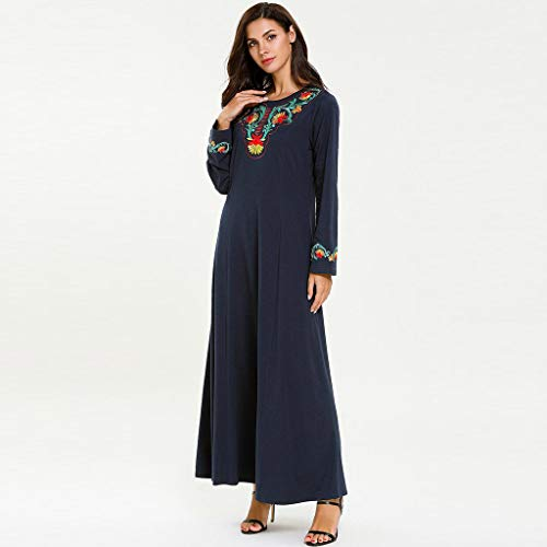 Women Muslim National Robe Middle Eastern Embroidered Abaya Long Sleeve Cocktail Maxi Dresses (2XL, Navy) ()