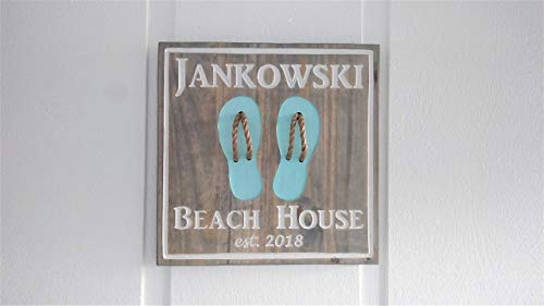 Personalized Handmade Engraved Wood Beach House Flip Flop Custom Sign ()