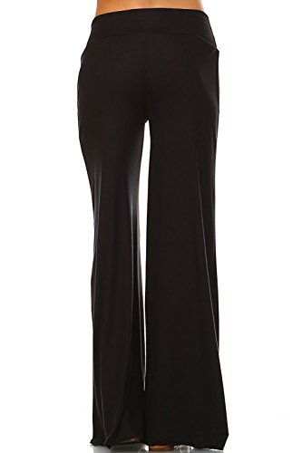 Simplicitie Womens Casual Wide Leg High Waist Bohemian Palazzo Pants Made in USA Regular and Plus Size Mocha