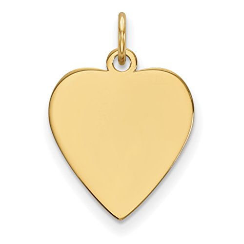 - Diamond2Deal 14k Yellow Gold Plain .013 Gauge Heart Engravable Disc Charm