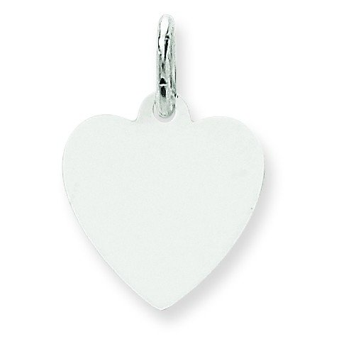 (14k White Gold Solid Polished Plain .009 Gauge Engraveable Heart Charm)