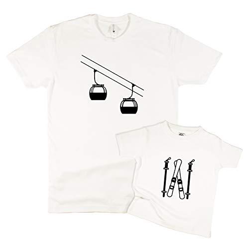 The Spunky Stork Ski Lift & Skis Baby Toddler Matching T Shirts - Siblings or Daddy & Me (SKI Lift Adult 2XL, - Powder Skis Daddy