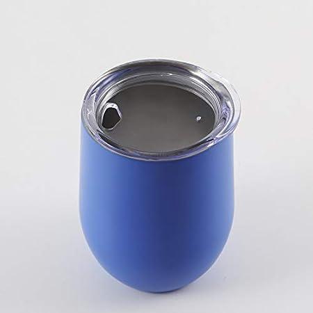 RZHIXR Copa De Vino Tinto De 12 oz con Tapa, Taza De Acero Inoxidable De Doble Vacío, Taza De Café para Teñir Y Imprimir con Barriga, 2 PCS