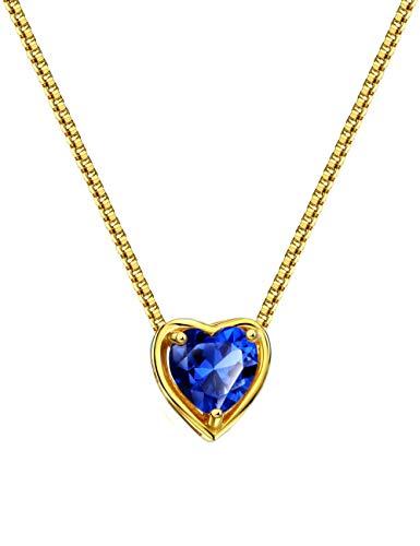 Sapphire Mint - Mints 18K Gold Plated Silver Birthstone Pendant Necklace Sapphire September Gemstone Heart Shape Fine Jewelry for Women