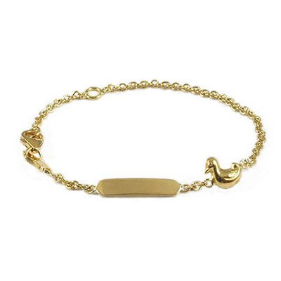 5 3/4 In Children's 18K Yellow Gold Ducky Charm ID Bracelet For Girls by Loveivy