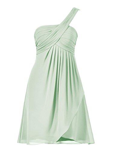Alicepub Robe Courte Demoiselle D'honneur Robe De Bal Une Épaule De Soirée Vert Menthe Des Femmes