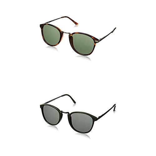 A.J. Morgan Castro Round Sunglasses - Two-Pack (Tortoise & Olive - Parker Sunglasses Mens Warby