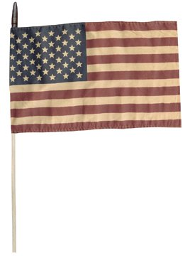 (Tea Stained American Flag On Wood Dowel Stick Country Primitive Patriotic Décor)