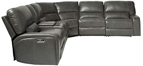 Farmhouse Living Room Furniture ACME Saul Sectional Sofa (Power Motion/USB Dock) – – Gray Leather-Aire farmhouse sofas and couches
