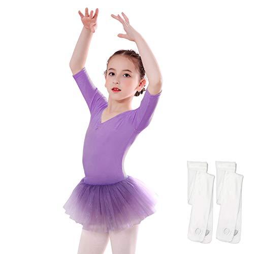 Tutu Tights Leggings - Toddler Tutu Leotard,Sinuo Girls Ballet Skirt with 2-Pair White Dance Tights Age 4-5