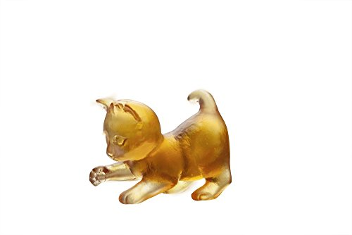 Daum Sculpture (Daum Crystal Cat Mini Player Kitten in Amber #05263/C)